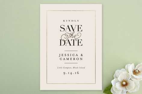 """""""Ivory Details"""" - Classical, Elegant Save The Date Cards in Smoke by Jennifer Wick."""