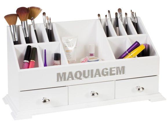 Organizador Porta Maquiagem Decorado MDF