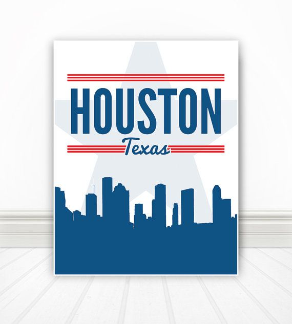 Houston, Houston Skyline, Houston Poster, Houston Print, Houston Sign. Houston Art, Houston Texas - 11x14 on Etsy, $16.00
