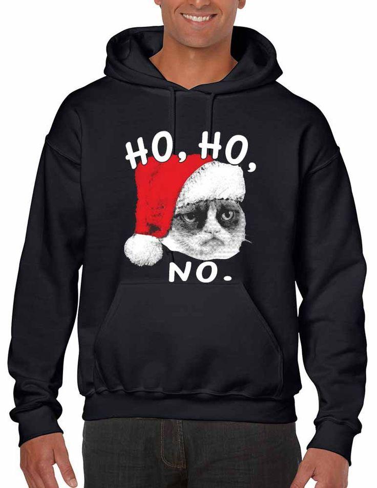 HO HO NO Grumpy cat men Hooded sweatshirt  Merry christmas gift shirt Ugly Christmas Sweater #uglysweater
