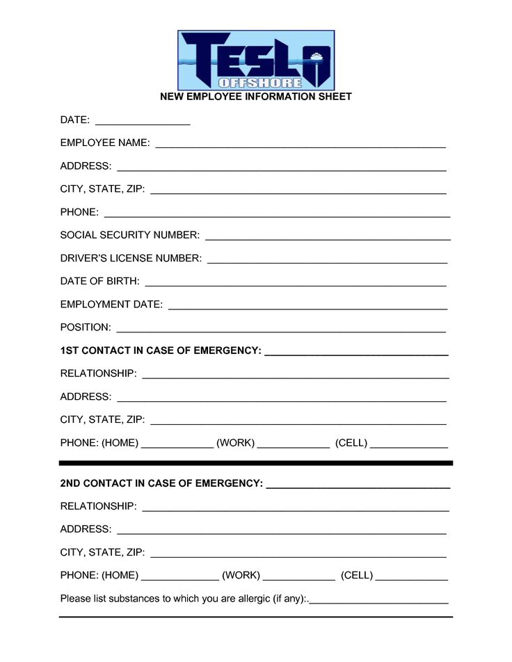 Best Photos Of Employee Information Template   Employee Personal Information  Form Template, Employee Personal Information Sheet And Employee Information  ...  Contact Info Sheet Template