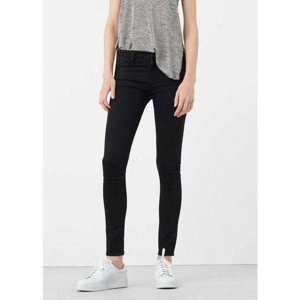 Skinny Elektra Jeans ($51) ❤ liked on Polyvore featuring jeans, black denim, super skinny jeans, zipper denim jeans, mango jeans, 5 pocket jeans and skinny leg jeans