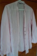 PER UNA Leinen Bluse Jacke pastell hellrosa Gr. 14 / 42 bestickt MARKS & SPENCER