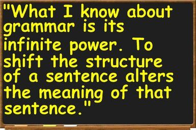 """Grammar - An Introduction in English: American essayist and novelist <a href=""""http://grammar.about.com/od/shortpassagesforanalysis/a/Didiongoodbye.htm"""">Joan Didion</a>, quoted by Donald Murray in <i>Writing to Deadline: The Journalist at Work</i> (Heinemann, 2000)"""