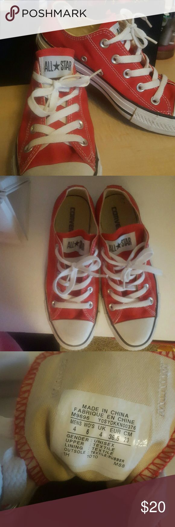 Converse All Star Low Tops Size 4 (fits like a 6.5) red Converse shoes worn maybe 3 times. Converse Shoes Sneakers