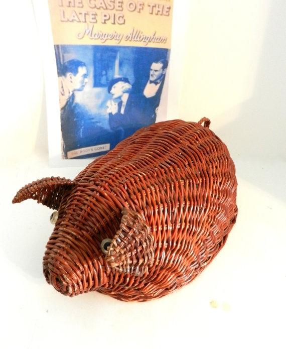 Vintage Wicker Pig Basket Wicker Basket by happenstanceNwhimsy, $14.00