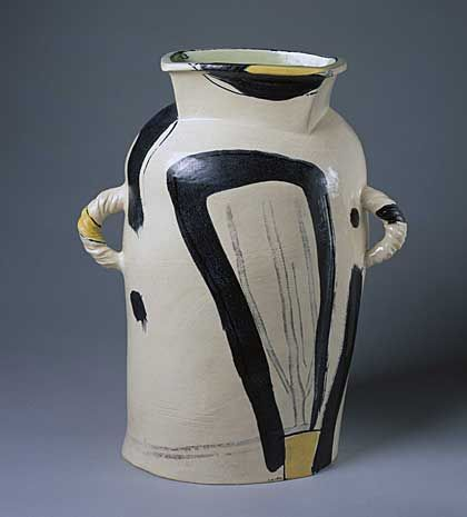 a photo of a double handed pot with square collar