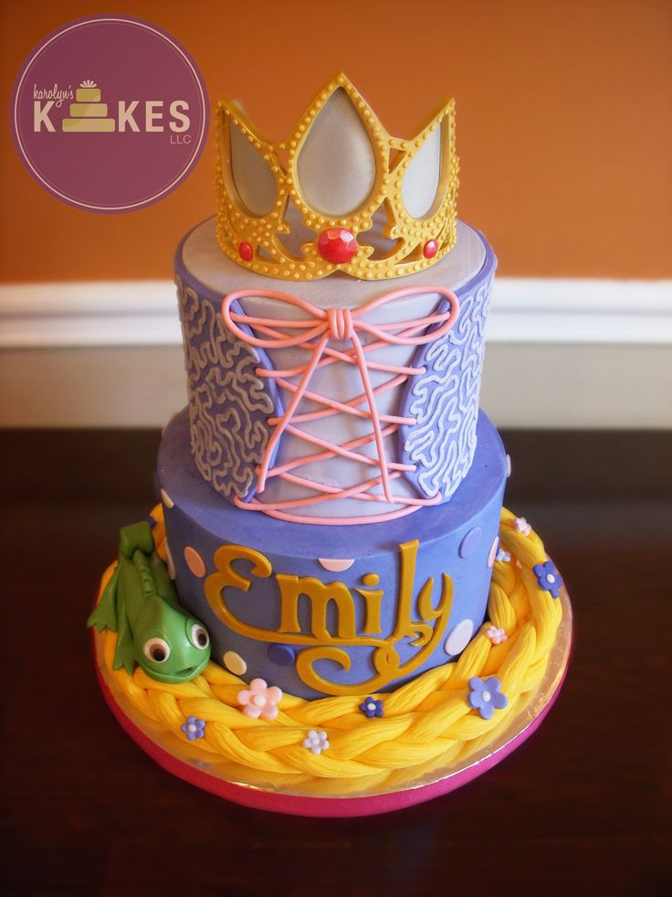 Tangled Rapunzel Cake! I iced these cakes in buttercream. The tiara is made from gumpaste.  Pascal, hair, corset are marshmallow fondant.