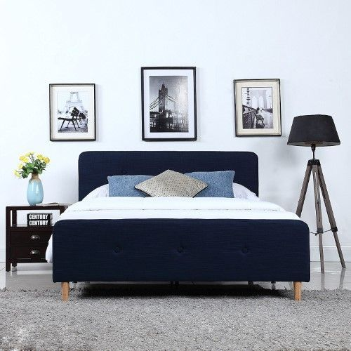 Mid Century Modern Linen Fabric Low Profile Bed Frame Queen Blue Bed Frame And Headboard Modern Bed Frame Low Profile Bed Frame