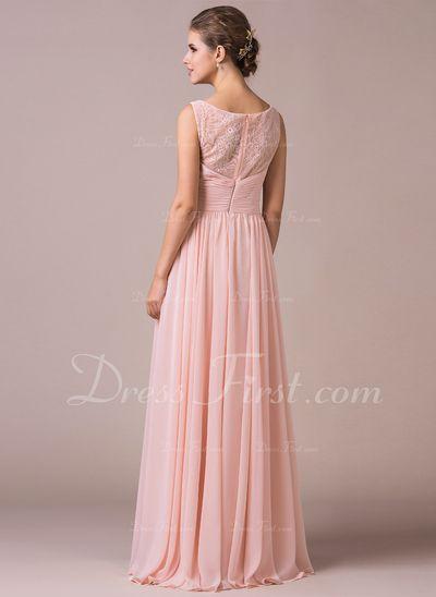A-Linie/Princess-Linie U-Ausschnitt Bodenlang Chiffon Lace Brautjungfernkleid mit Rüschen (007057702)