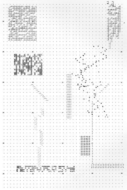 The plans for Archizoom 's 1969 No-Stop City were typed out on a typewriter. The plan emerged from limitations of typesetting: leading, tabs, indentation, and spacing. Appropriately enough, the project conceived as architectureless architecture is represented with a planless plan. Operating more like graph paper, the plan was seductively incomplete and awaiting occupation.
