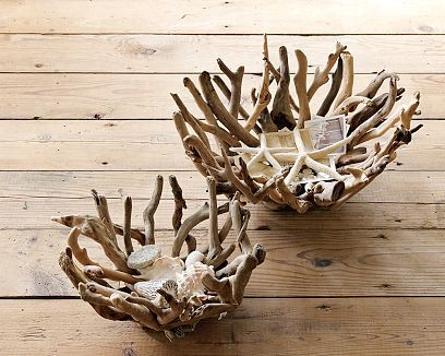 From WS Home - natural driftwood bowls - I think I'll remember to go driftwood hunting and hope to come across a similar shape!