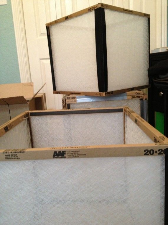 making light boxes for stage sets out of air filters and duck tape