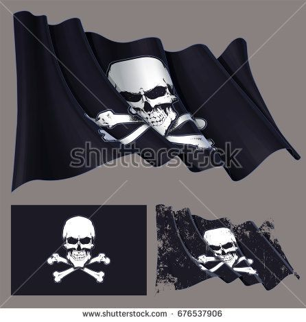 Vector illustration of the waving pirate flag, skull and crossbones. Each element on a separate layer with well-defined groups and subgroups. Easy to edit colors via Global Color