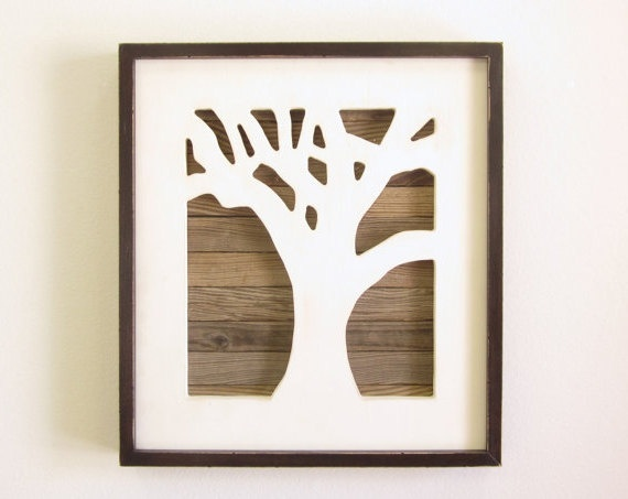 Rustic Tree Wall Decor : Reclaimed wood art tree wall framed handmade