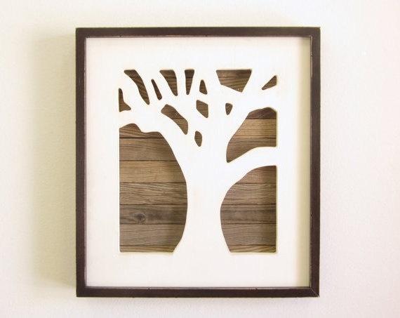 Reclaimed Wood Art, Tree Wall Art, Framed Handmade Wall
