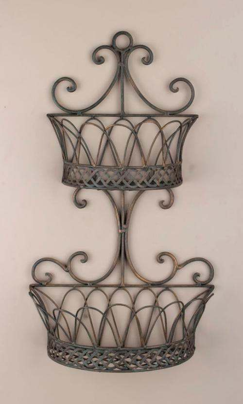 wrought iron wall planters | Wrought Iron Metal Double Wall Baskets Planters | eBay