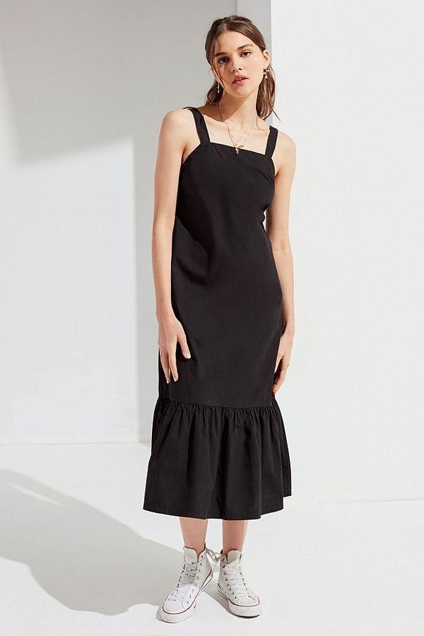 2da9aff6b5ae UO Mia Poplin Ruffle Hem Midi Dress | Set Designs | Dresses, Ruffles ...