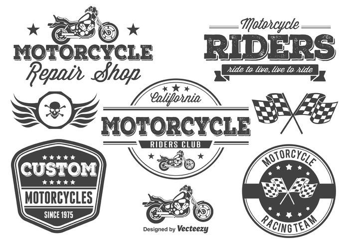 Free vector Motorcycle Vector Labels / Elements #28095