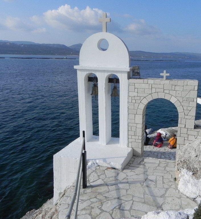 Traditional greek chapel over the sea. Located in kefalonia island. Wedding chapel. Greek  Wedding venue