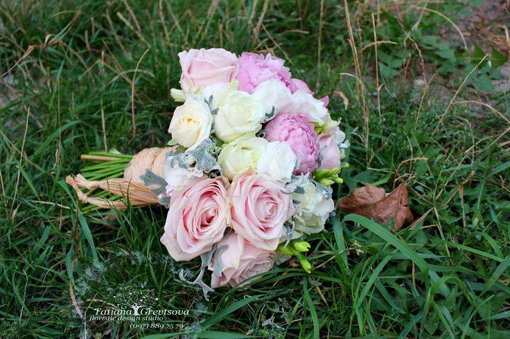 Букет невесты .Пудровая цветовая гамма.