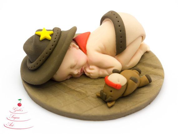 Fondant Baby Cowboy Cake Topper birthday idea christening baptism topper cake decoration baby boy artistic