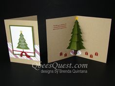 Peaceful Pines Pop Up Christmas Tree #SU Qbee's Quest Stamping Ideas