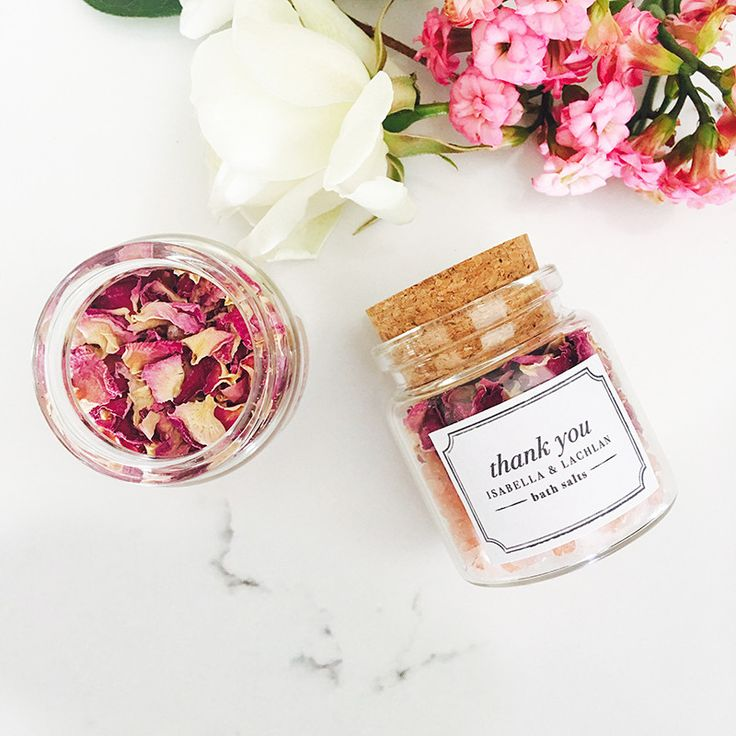 Rose petals & pink himalayan bath salts in a glass jar with personalised label are the perfect wedding or bridal shower favours. Delivery across Australia.