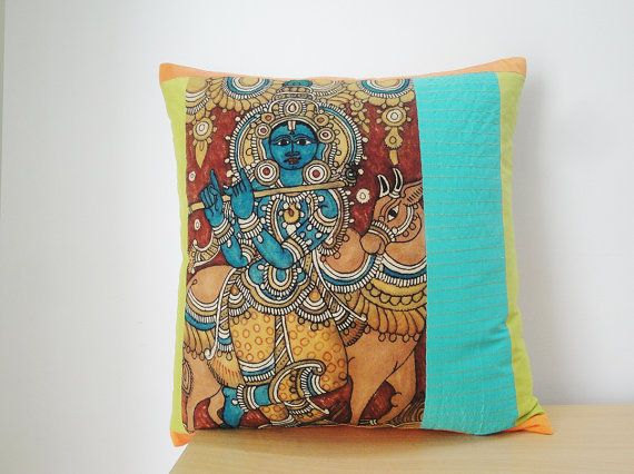 Hand Painted Kalamkari Pillow , cute!