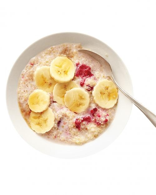 quinoa breakfast cereal   Ingredients  1 1/2 cups skim milk  1/2 cup rinsed quinoa  2 teaspoons pure maple syrup  Pinch of ground cinnamon  1/2 cup fresh raspberries  Sliced banana  Directions  Bring milk and quinoa to a boil in a small saucepan. Simmer, covered, until most  of milk is absorbed, about 14 minutes. Remove from heat and stir in maple syrup, cinnamon, and raspberries. Top with banana.