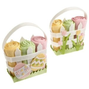 DYI Easter Felt Basket with 3 Kitchen Towels