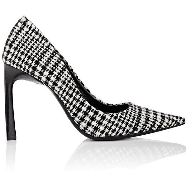 Lanvin Women's Houndstooth Wool Flannel Pumps ($379) ❤ liked on Polyvore featuring shoes, pumps, black and white pointed toe pumps, high heel stilettos, pointed toe high heel pumps, lanvin shoes and houndstooth pumps