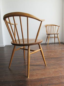 Pair of Elm & Beech 'Cowhorn' chairs by Ercol.