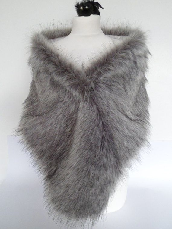 silver fur stole, gray fur shawl, grey faux fur, fake fur shrug, faux fur collar, bridesmaid wrap, bridal