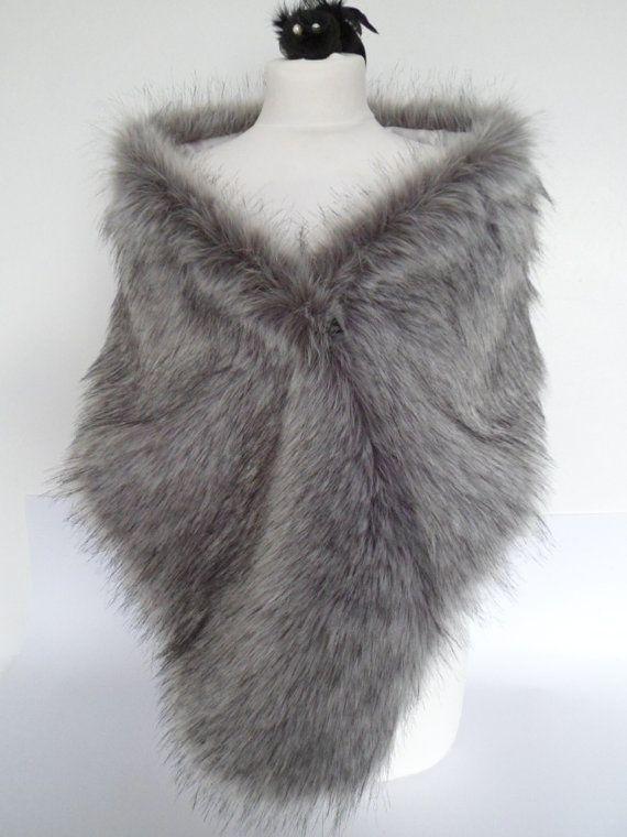 silver fur stole gray fur shawl grey faux fur by thepurplegenie