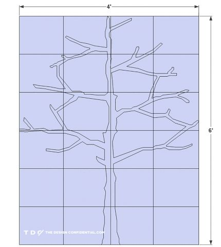Cutting Grid for Free DIY Plans and Step by Step Video Tutorial on How To Make a Modern Tree Shaped Bookshelf