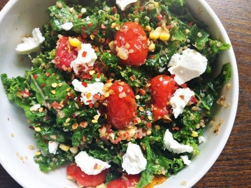 Kale Salad with Roasted Tomatoes and Toasted Quinoia....good but involves time. Use two people!