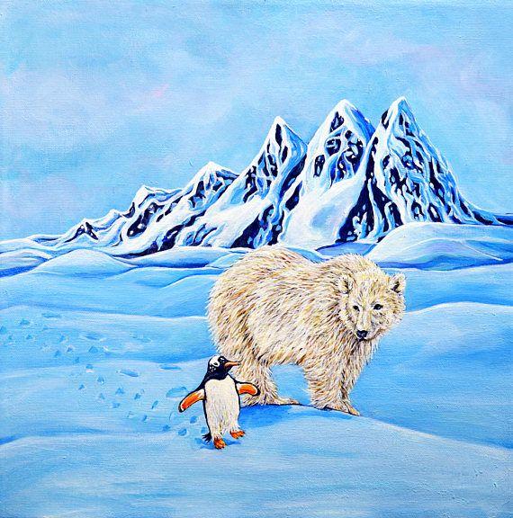 Polar Bear Penguin Original Acrylic Painting Unlikely