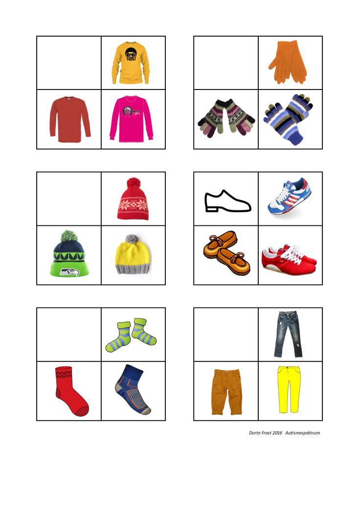Tiles for the clothes sorting game. Find the belonging board on Autismespektrum…
