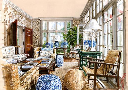 Interior Watercolor Illustration Country
