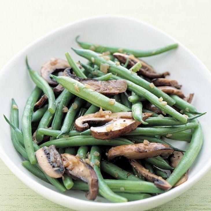 ... mushroom caps, green beans, coarse salt, ground pepper | Veggies