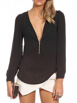 Shop Black V Neck Zipper Front Long Sleeves Chiffon Blouse from choies.com .Free shipping Worldwide.$9.99