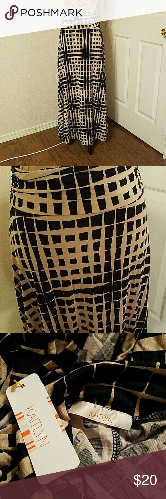 KAITLYN  MAXI SKIRT beige and black maxi skirt, stretchable fabric kaitlyn Skirts Maxi