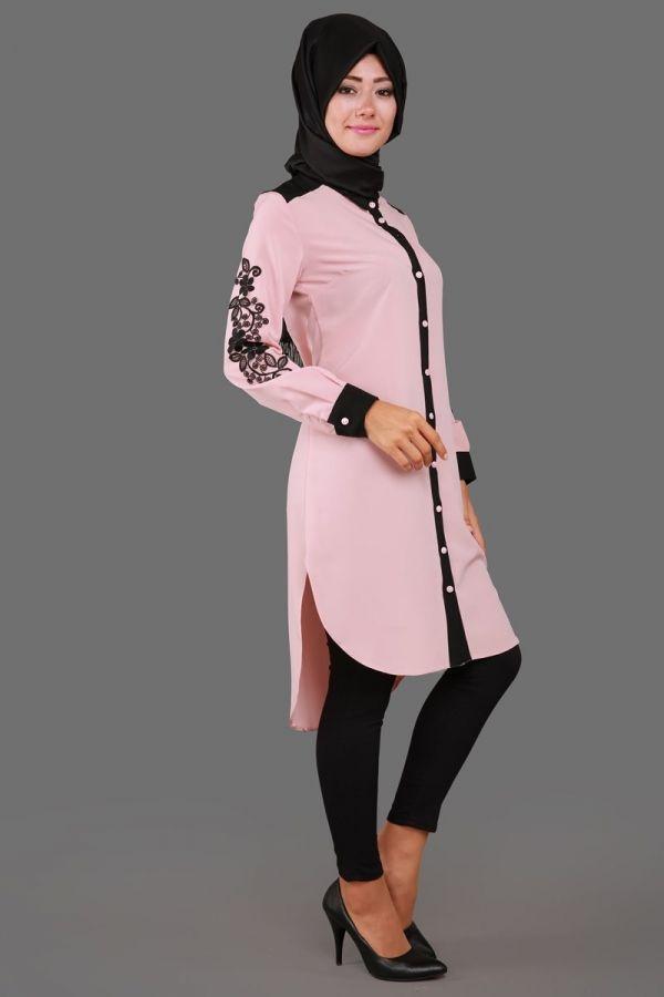 Kolu Güpürlü Çift Renkli Tunik Pudra&Siyah Ürün kodu: APS4030 –> 79.90 TL