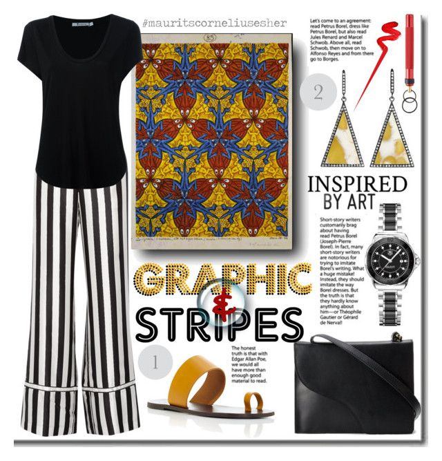 """""""Graphic&Stripes.  La Ligne Striped silk-satin pants"""" by rinagern ❤ liked on Polyvore featuring All Tomorrow's Parties, La Ligne, Alexander Wang, Topshop, TAG Heuer and A.S.P"""