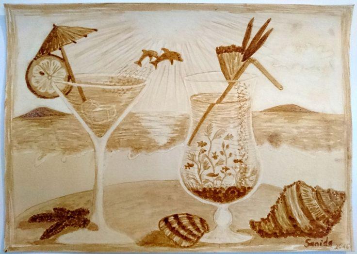 Coffee painting -  Cocktailglass #cocktailglass #kavefestmeny #coffeepainting #kaffeemalerei #cocktail