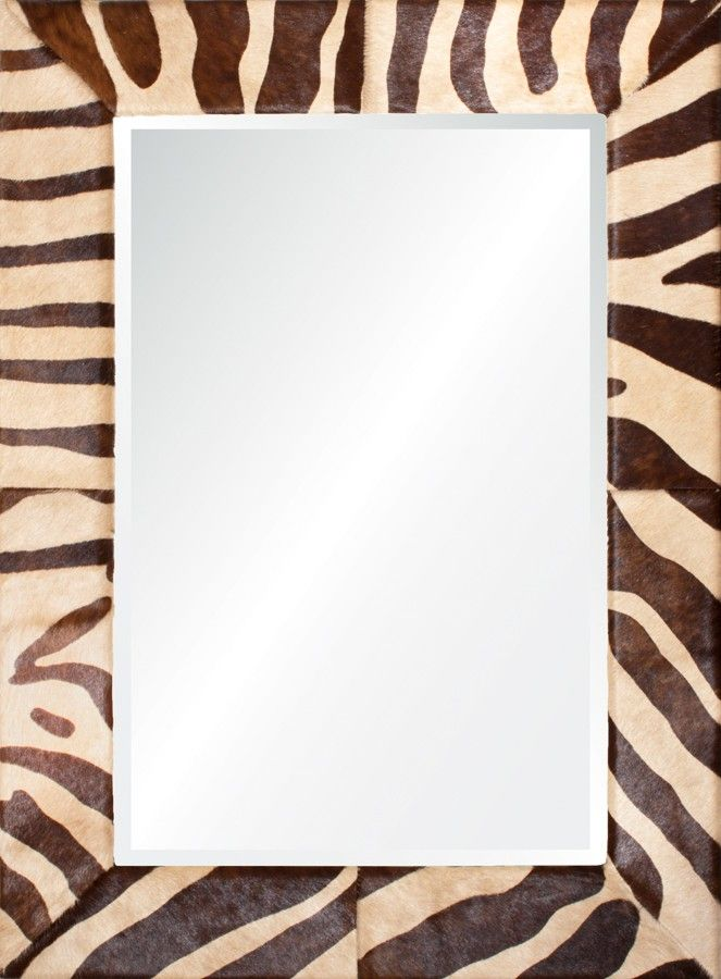 Beige and Chocolate Hide Finish Wall Mirror-Available in Four Different Sizes