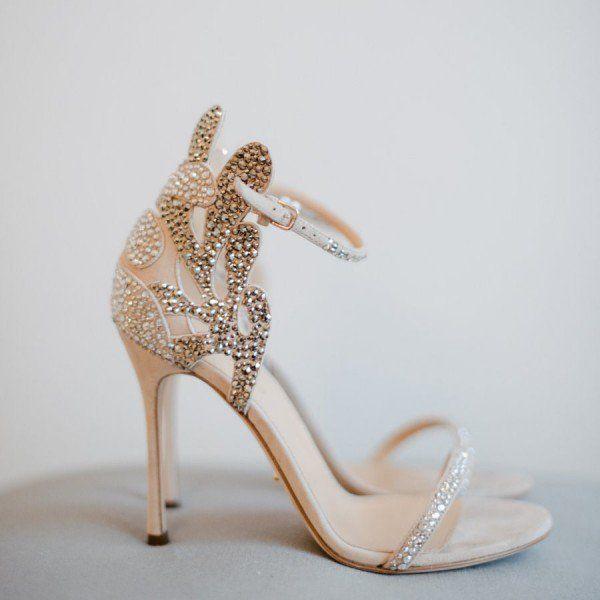 Champagne Wedding Shoes Rhinestone Stiletto Heels Bridal Sandals