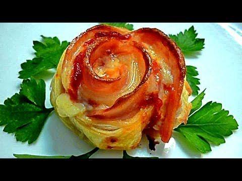 Блюда из слоенного теста. Розочки с ветчиной и сыром. Вкусная выпечка.