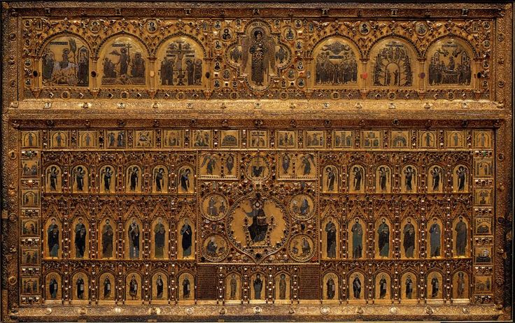 """Pala d'Oro (""""Golden Pall"""" or """"Golden Cloth""""), the high altar retable of the Basilica di San Marco in Venice. It is universally recognized as one of the most refined and accomplished works of Byzantine craftsmanship, with both front and rear sides decorated."""
